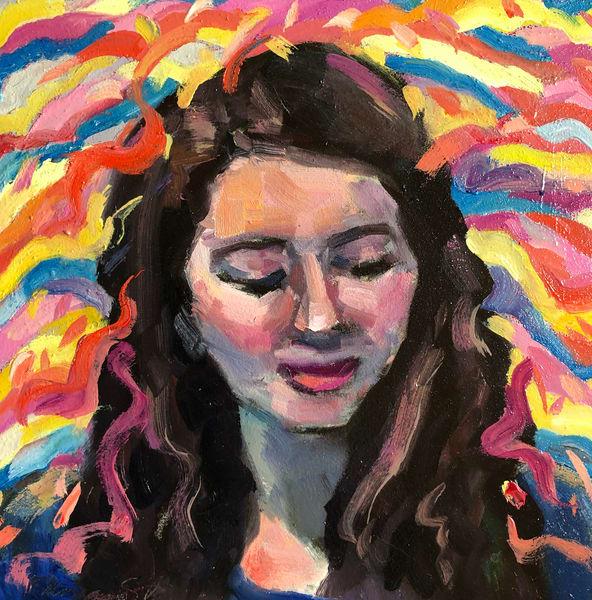 "Lively vibrant and fun portrait  ""Wisdom's Daughter"". Oil painting portrait by Monique Sarkessian."