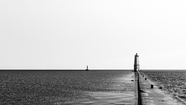 Frankfort Pier And Lighthouse  Photography Art | Spry Gallery