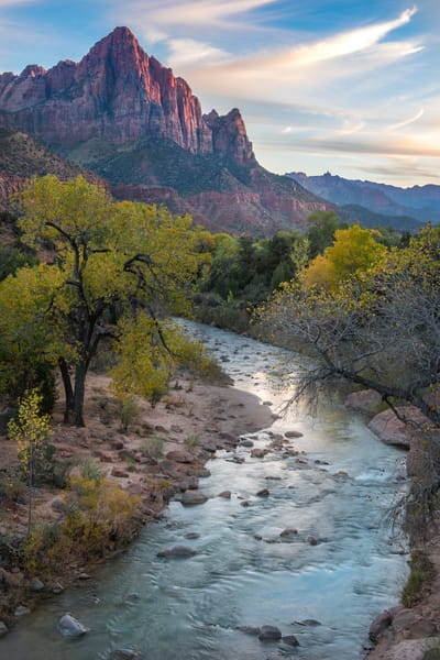 Autumn sunset at The Watchman/Zion National Park Fine Art photography prints by Tom Schoeller