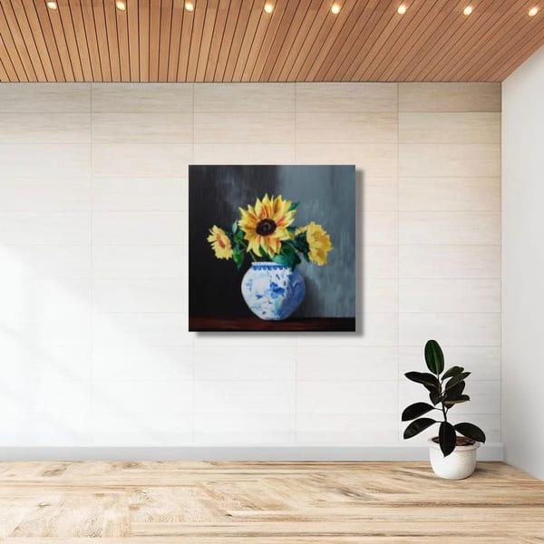 Sunflowers In Blue   Original Oil Painting Art   Tessa Nicole Art