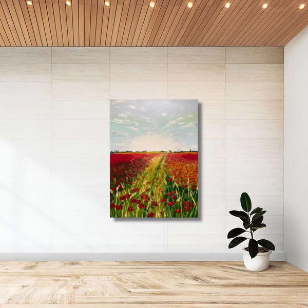 Poppy Path   Original Oil Painting Art   Tessa Nicole Art
