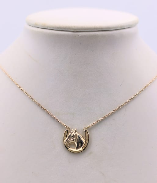 Miniature Sterling Silver Horseshoe/Horse Head Pendant Necklace Jewelry