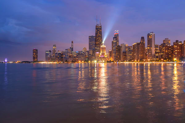 North Avenue Beach View of the Chicago Skyline - Signature Series Art