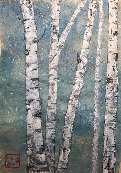 Birch On Blue     Art   donnadacuti