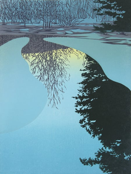 Ice Dawn, linocut print by William Hays