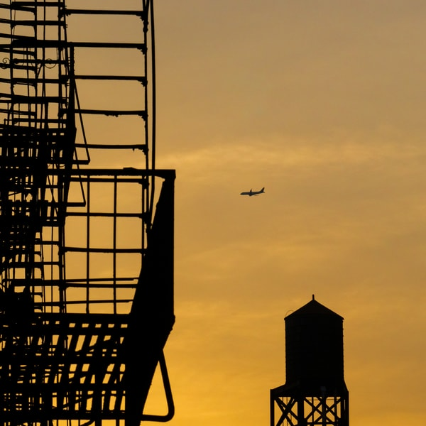 Plane Over Water Tower At Sunrise, Nyc Photography Art | Ben Asen Photography