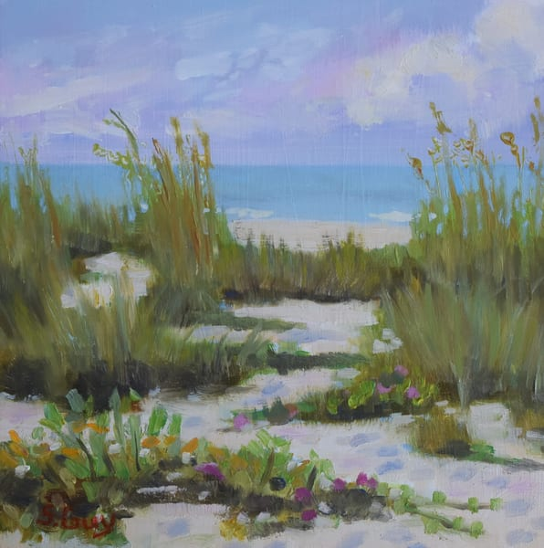 Blossoms By The Sea   Oil On Cradled Panel Art | Sharon Guy