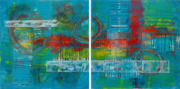 Blue Directions (Diptych)  - Original Abstract Painting | Cynthia Coldren Fine Art