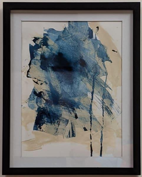 Cresha Lu Fulkerson - original artwork - abstract - indigo and beige - Indigo Intuition 1