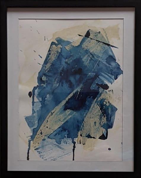 Cresha Lu Fulkerson - original artwork - abstract - indigo and beige - Indigo Intuition 2