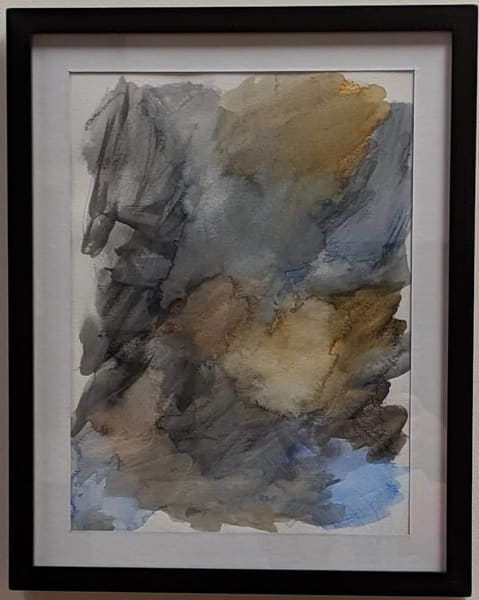 Cresha Lu Fulkerson - original artwork - abstract - blue and beige - Leo