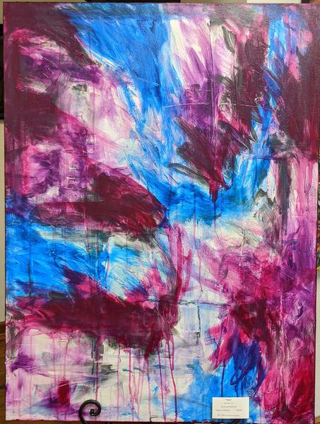 Cresha Lu Fulkerson - original artwork - abstract - magenta blue and white - Miles