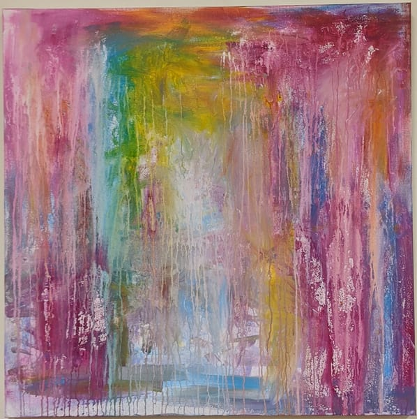 Cresha Lu Fulkerson - original artwork - abstract - colorful - drippy paint - Spiritual Rainbow Rain