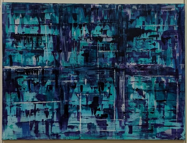 Cresha Lu Fulkerson - original artwork - abstract - blues turquoise and white - Transition
