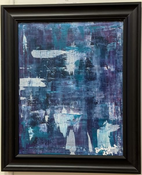 Cresha Lu Fulkerson - original artwork - abstract - blues turquoise purples and white - Transition 2