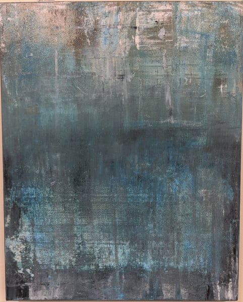 Cresha Lu Fulkerson - original artwork - abstract - blues and grey - Transition 7