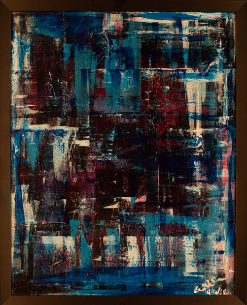 Cresha Lu Fulkerson - original artwork - abstract - reds blues and white - Transition 4