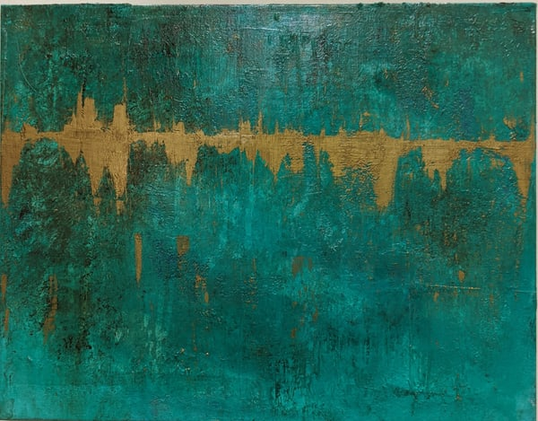 Cresha Lu Fulkerson - original artwork - abstract, turquoise and gold - Heartbeat