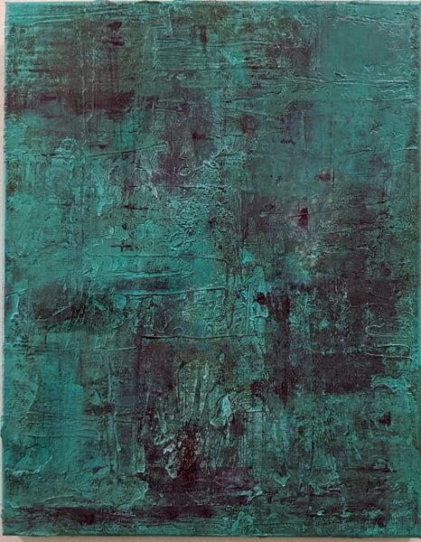 Cresha Lu Fulkerson - original artwork - abstract - patina red and teal - Patina
