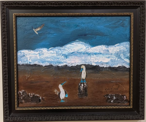 Roz Nixon - original artwork - animals - birds - Blue Footed Boobies
