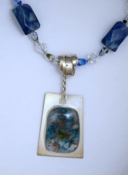 Art Glass And Silver Agate Necklace Art | artalacarte