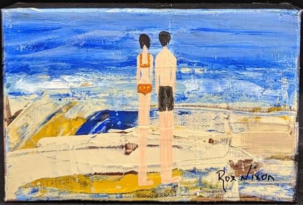 Roz Nixon - original artwork - beach - couple - Evening Tide