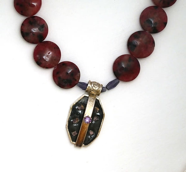Silver, Amethyst And Rhodonite Bead Necklace  Art | artalacarte