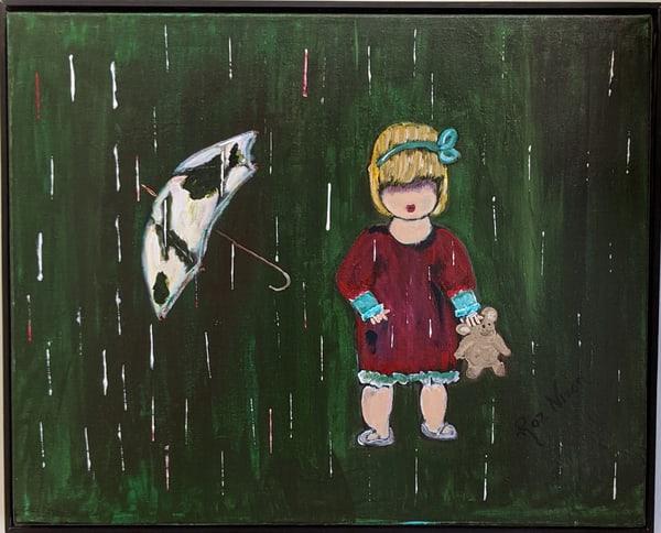 Roz Nixon - original artwork - child - little girl - rain - I Love a Rainy Day
