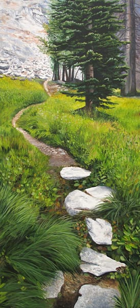 Alpine hiking trail painting