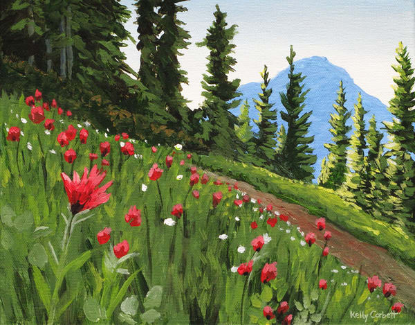 Alpine meadow with mountains