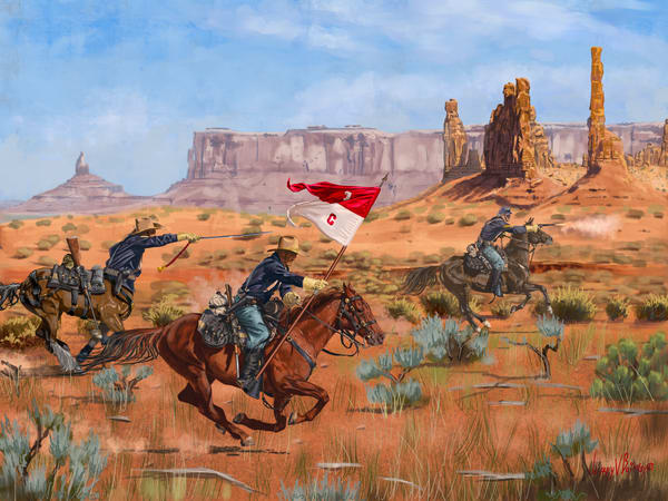 united states cavalry charge through monument valley in pursuit