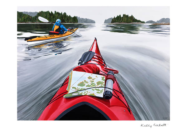 Kayaking west coast art card