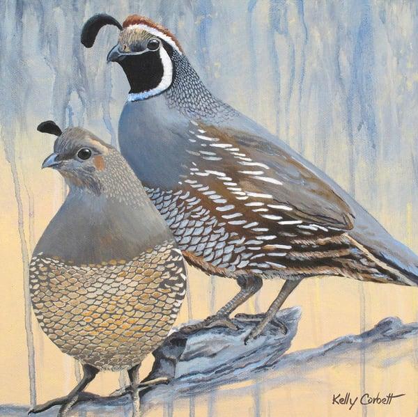 Together again quail art card