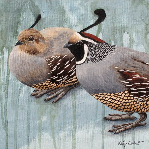 Perfect together quail art card