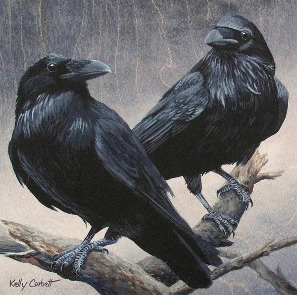 Double raven fine art card