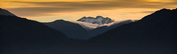 Sunset Over Glacier Bay Mountains Photography Art | Leiken Photography