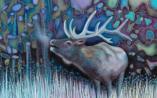 elk, painting, animal, wildlife, landscape, pointillism