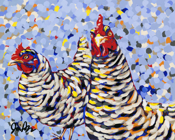 Funky Chickens is a farmhouse delight. This original painting would make a great addition to any home.