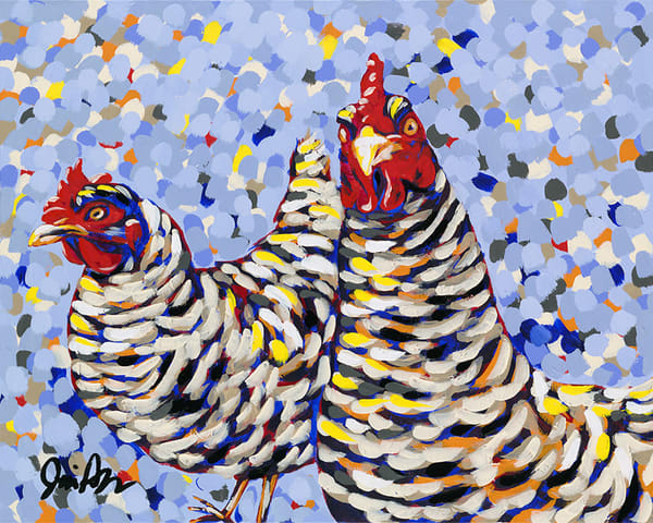 Funky Chickens is an original acrylic painting by Jodi Augustine Art.