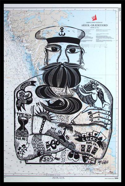 Sailor   Linocut On North Sea Sea Chart Art | mariannjohansen-ellis