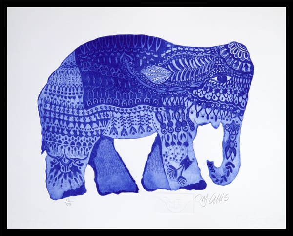 elephant print in vibrant colors, green and blue, heavily decorated, Indian style, by printmaker Mariann Johansen-Ellis, etching, art, paintings