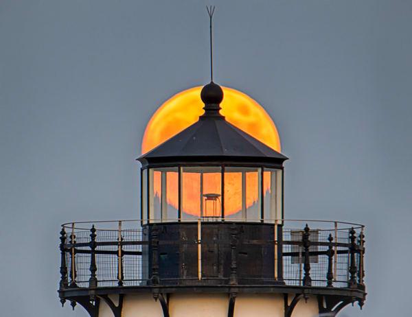 Edgartown Light Moon Light Art | Michael Blanchard Inspirational Photography - Crossroads Gallery