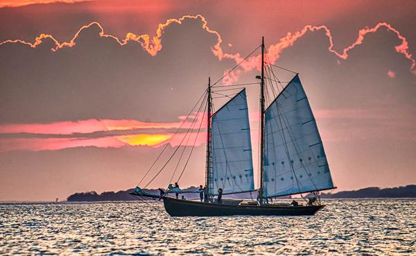 Vineyard Haven Sunset Schooner Art | Michael Blanchard Inspirational Photography - Crossroads Gallery