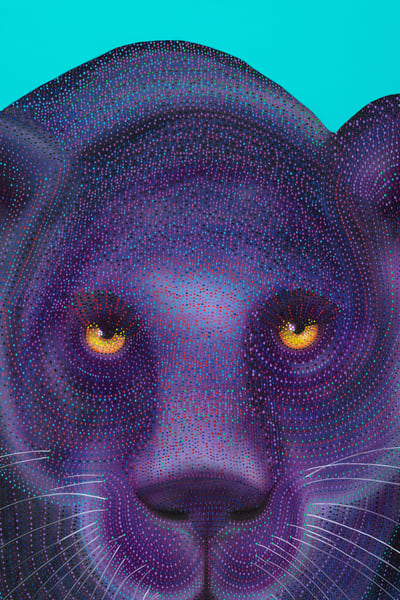 contemporary, modern-art, fine-art, purple, teal, black, pointillism, animal, wildlife, wildcat, feline, big-cat, black-jaguar, black-jag, jaguar, panther, black panther