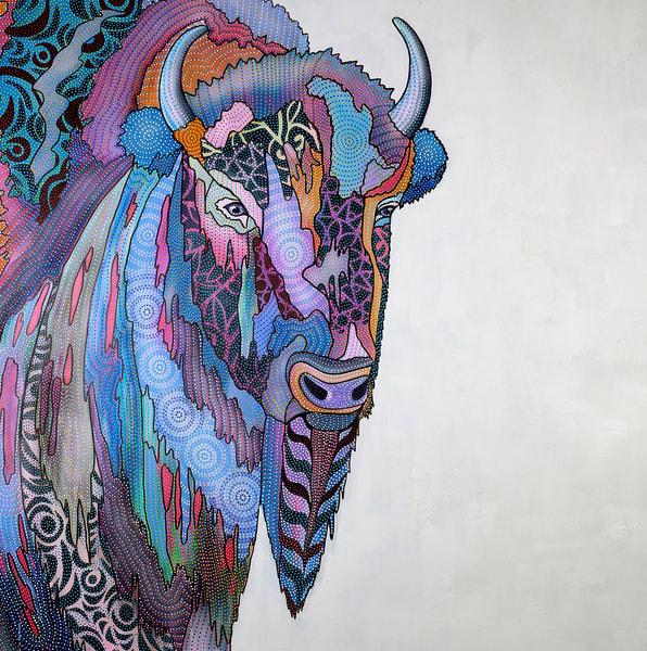 buffalo, bison, animal, wildlife, power, pointillism, modern, contemporary