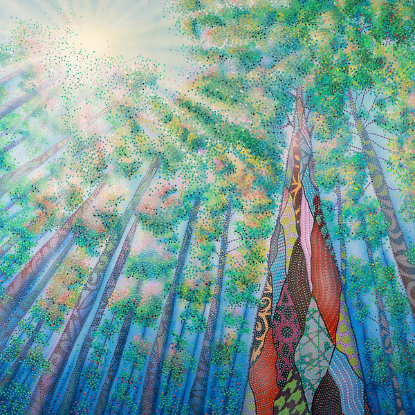 spring, summer, leaves, branches, happy-art, blues, greens, sunlight, sun, pointillism, never-alone, enchanted-forest, enchanted, wood, landscape, forest, trees