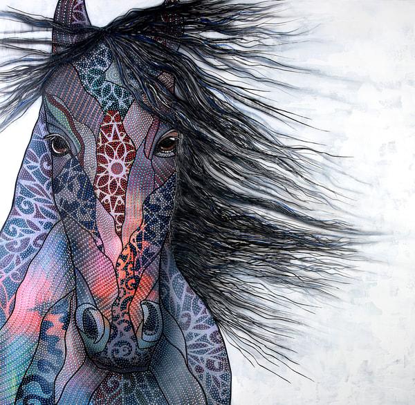 horse, black-horse, stallion, pointillism, horse-lover, animal, modern, fine-art, modern-animal, wildlife, animal-art, horse-painting, horse-art, pink, blue, multicoloured