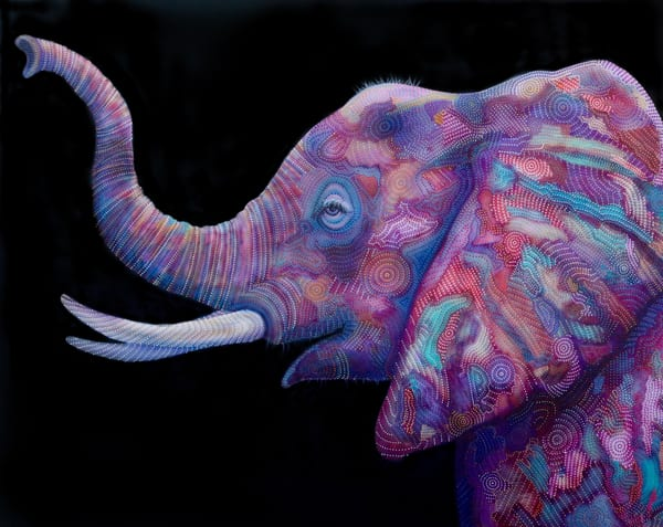 elephant, pointillism, erin-conn, giant, africa, jungle, gentle, tusk, endangered, elephants, animal, black, drama, power, powerful, home-decor, pink, colourful-art, happy-art, inspo, beauty, trunk, ivory, hunted, family, interior-design, wall-art,