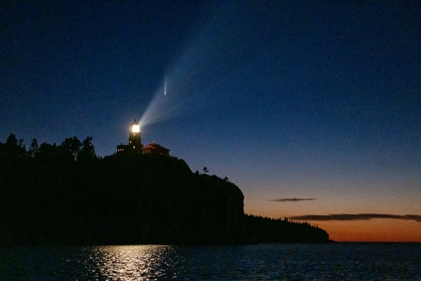 Lighthouse And Comet Photography Art | John Gregor Photography