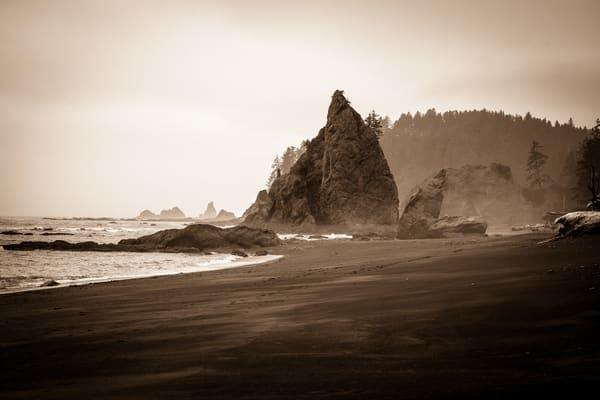 Coastal Study in Black and White #6 - foggy sunrise on Rialto beach, Washington photograph print